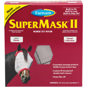 Farnam SuperMask II Classic Horse Fly Mask, for Eye Protection From Insects and Debris, Without Ears Assorted Colors 12ea/Horse Size