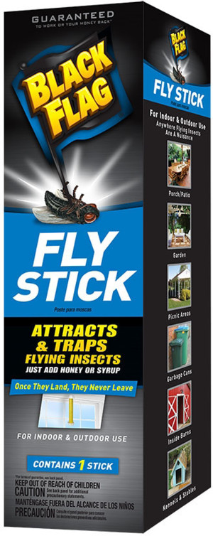 Black Flag Fly Stick Attracts & Traps Flying Insects 6ea