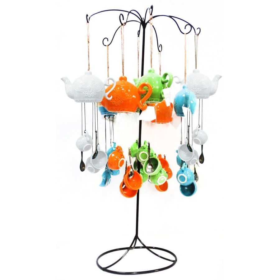 Alpine Ceramic Teacup Wind Chimes with Metal Display Stand Assorted 8ea
