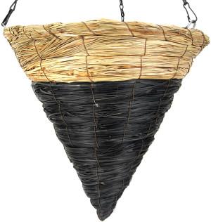 Supermoss Cone Wood Woven Hanging Basket Natural Blackjack Natural Blackjack 8ea/14 in