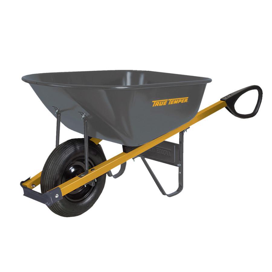 Ames True Temper Steel Tray Wheelbarrow with Total Control Handles Black 1ea/6Cuft