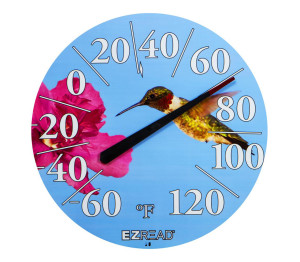 E-Z Read Dial Thermometer with Hummingbird White 6ea/12.5 in