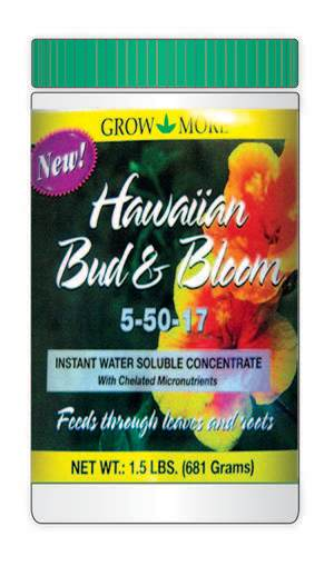 Grow More Hawaiian Bud & Bloom Water Soluble Fertilizer Concentrate 5-50-17 6ea/3 lb