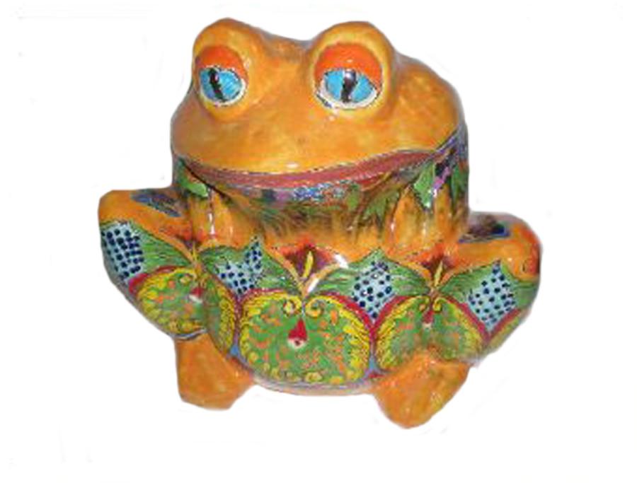 Talavera Frog Planters Blue Green 4ea/10 in