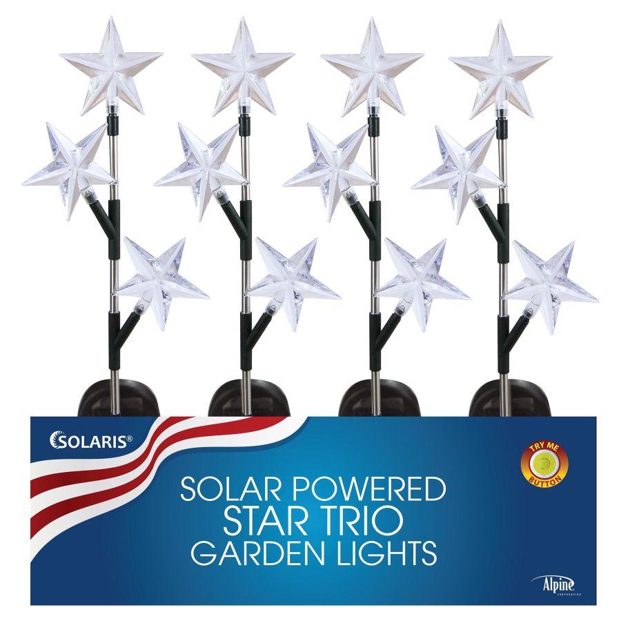 Alpine Solar Star Trio LED Garden Stake 20ea