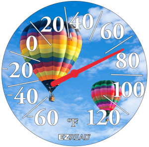 E-Z Read Dial Thermometer with Hot Air Balloon Multi-Color 6ea/12.5 in