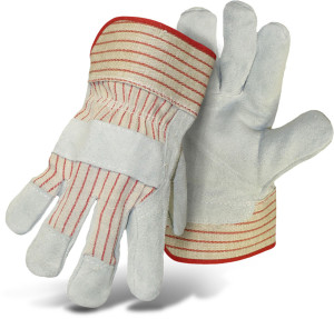 Boss Economy Split Leather Palm Glove Cowhide Grey, Red 12ea/Large