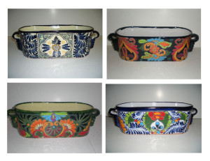 Talavera Window Boxes Traditional Laurel & Bicentenario 4ea/13 in