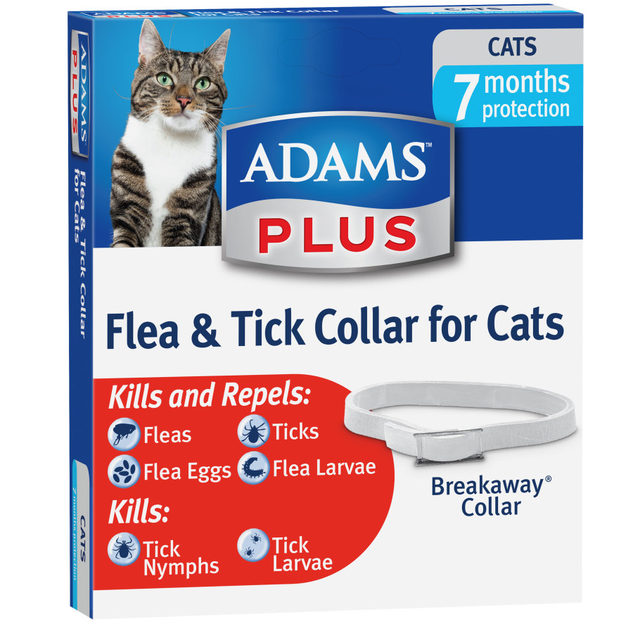 Adams Plus Collar for Cats White 24ea/Fits Kittens And Cats 12 Weeks And Older.