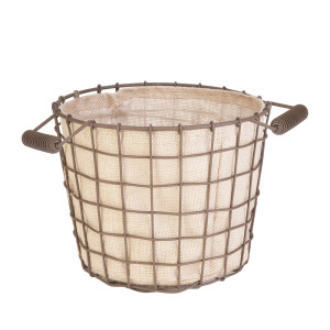 Panacea Small Rustic Woven Wire Bushel Basket with Burlap Liner Rust 6ea/8In