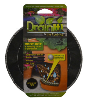 DrainIt! Plant Container Disc Fits 12in - 15in Pots Clip Strip Black 24ea/12In - 15In 8.75 in