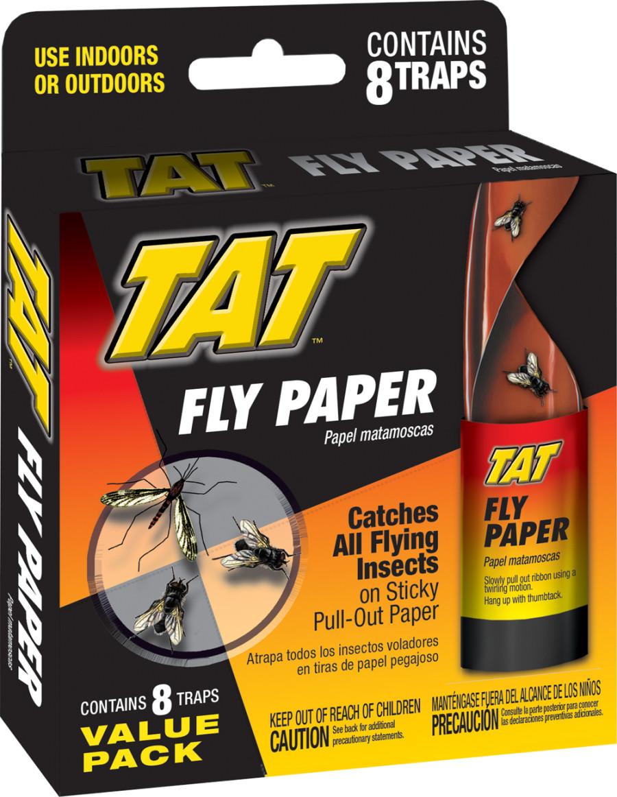 TAT Fly Paper Ribbon Indoor/Outdoor Traps 24ea/8 pk
