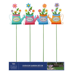 Alpine Metal Watering Can with Flower Stakes Assorted Assorted 12ea