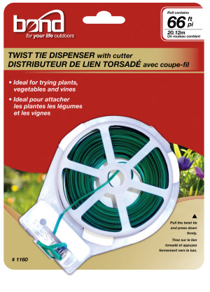 Bond Twist Tie Spool Dispenser Green 10ea/60 ft