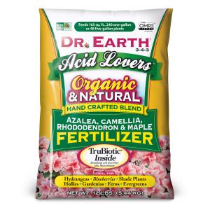 Dr. Earth Acid Lovers Premium Azalea, Camellia, Rhododendon and Maple Fertilizer 3-4-3 5ea/12 lb