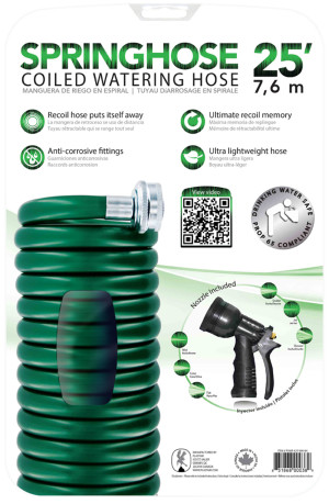 Plastair SpringHose Coiled Watering Hose with Nozzle Green 5ea/25 ft