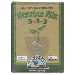 Down To Earth Starter Mix All Natural Fertilizer Organic 3-3-3 12ea/1 lb