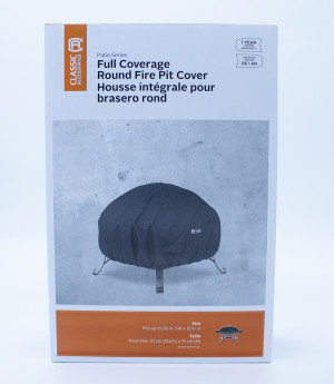 Classic Accessories Full Coverage Fire Pit Cover Round Black 2ea/36 in