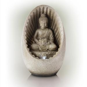 Alpine Buddha Tabletop Fountain With LED Light 1ea