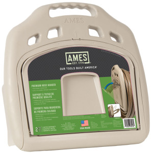 Ames Premium Hose Hanger 150ft Poly Wall Mount With Storage Bin Tan 3ea