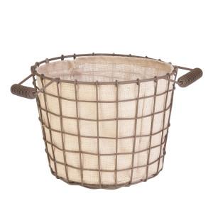 Panacea Small Rustic Woven Wire Bushel Basket with Burlap Liner Rust 6ea/14In