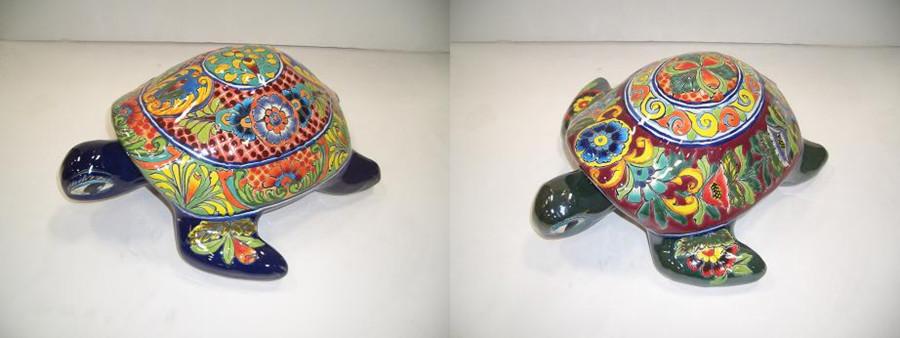 Talavera Turtle Statue Assortment Multi-Color 2ea/Large