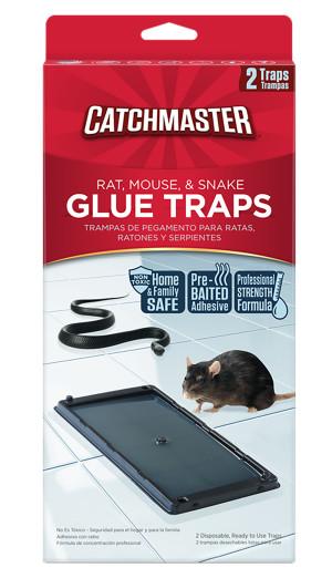 Catchmaster Rat Glue Traps Pre-Baited Mouse & Snake 12ea/2 pk