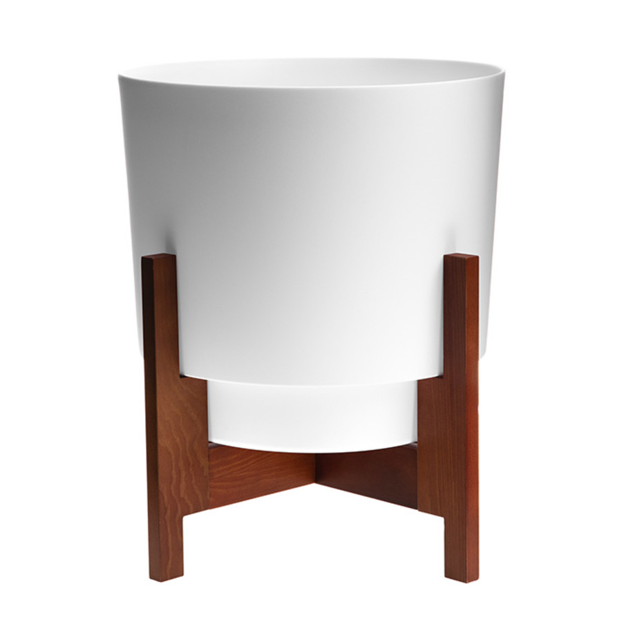 Bloem Hopson Planter With Wood Stand Casper White 3ea/14 in
