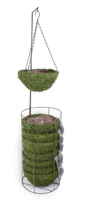 Supermoss Natural Moss Hanging Basket Round Preserved Spring Green 8ea/Medium