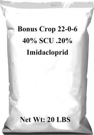 Bonus Crop Fertilizer 22-0-6 40% SCU .20% Imidacloprid 1ea/20 lb