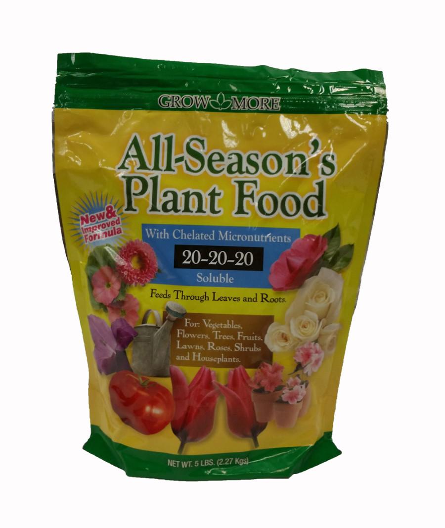 Grow More All Season's Plant Food Soluble Fertilizer 20-20-20