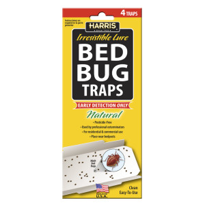 Harris Bed Bug Traps Irresistible Lure Natural 15ea/4 pk