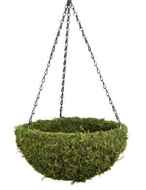 Supermoss Natural Moss Hanging Basket Round Preserved Spring Green 1ea/Medium