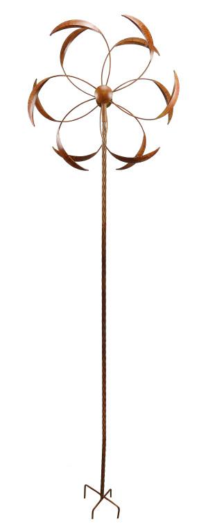 Alpine Rustic Metal 3D Wind Spinner Garden Stake Copper 2ea/24Inx9Inx96 in