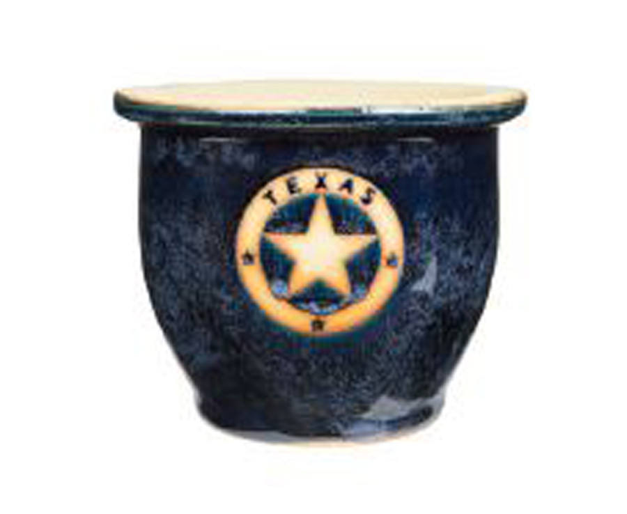 New England Pottery Pickle Pot Texas Star Blossom Blue 1ea/11.75 in