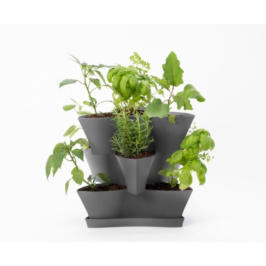 Bloem Collins 3 Level Planter Charcoal 4ea/16 in