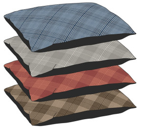 DMC Plaid Pillow Pet Bed Assorted Display 20ea/27In X 36 in