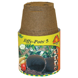 Jiffy Pots 5 Round Grows Plants Brown 16ea/6 Plants 5 in