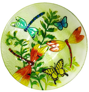 Continental Art Dragonfly Hand Painted Glass Bowl Multi-Color 3ea/18 in