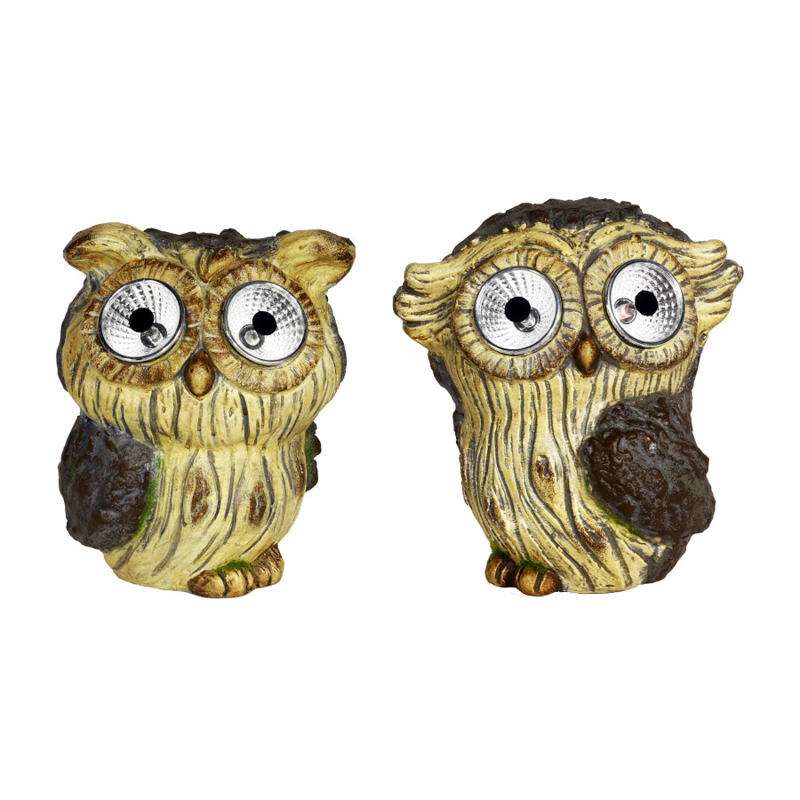 Alpine Solar Ceramic Owl With LED Lights Brown 8ea/One Size