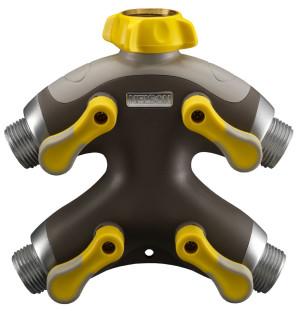 Nelson High-Flow Four-Valve Faucet Manifold Adaptor Shut-Off Multi-Color 8ea