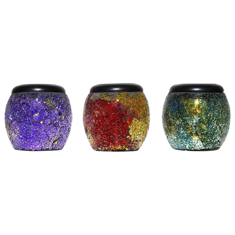 Alpine Solar Mosaic Glass LED Jar Lantern Multi 12ea/One Size