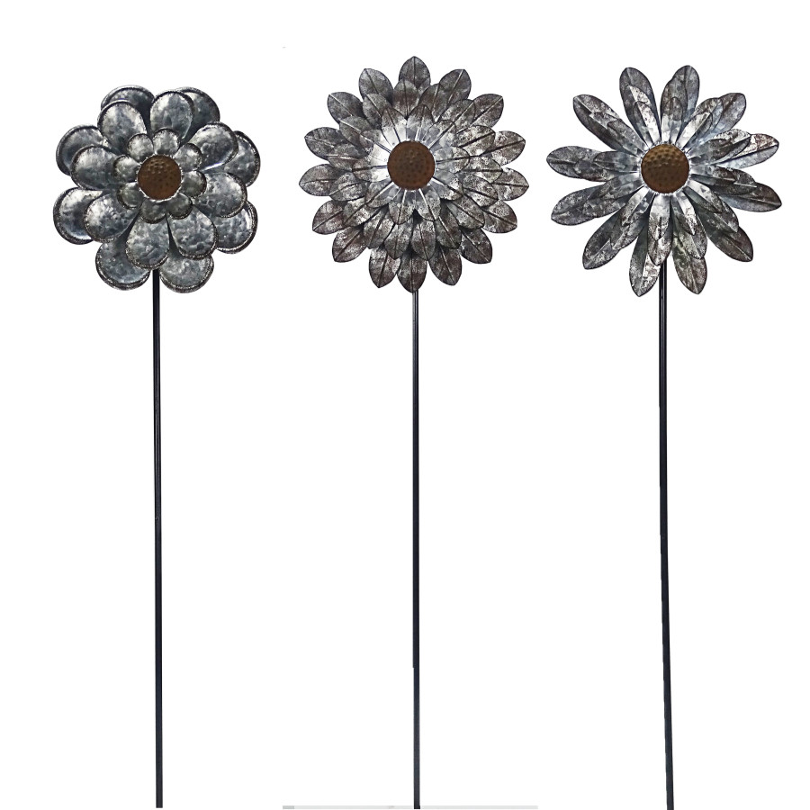 Alpine Rustic Galvanized Floral Spinning Stake Assorted 9ea