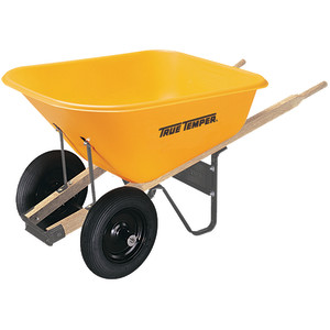 Ames True Temper Poly Tray Wheelbarrow with Dual Wheels Yellow 1ea/8Cuft