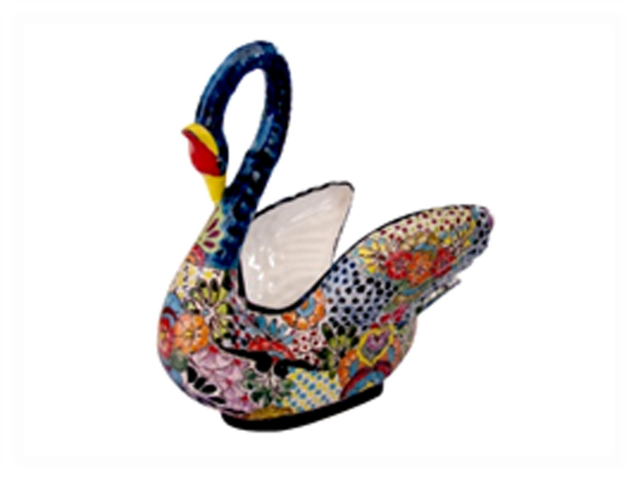 Talavera Swan Planter Blue 1ea/Large