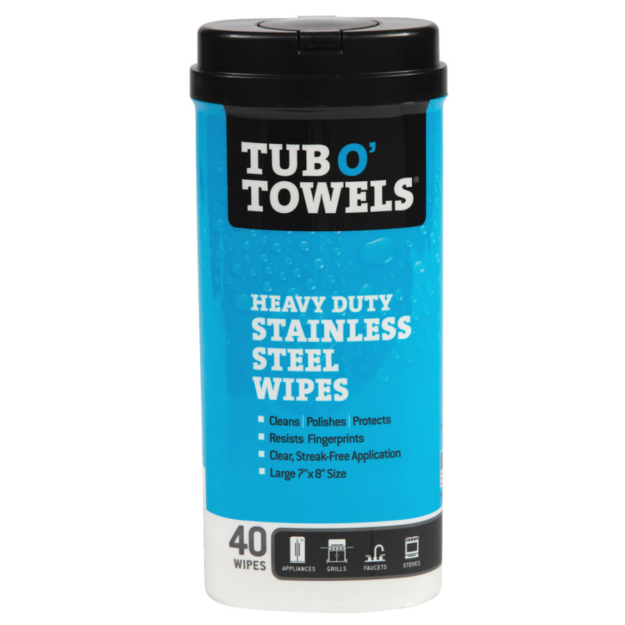 Tub O' Towels Heavy Duty Stainless Steel Wipes 12ea/Large (7 In X 8 In)
