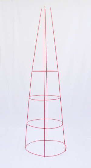 Midwest Wire Works Tomato Cage 4-Leg 4-Ring Heavy-Duty 16in Top Ring Red 25ea/54 in