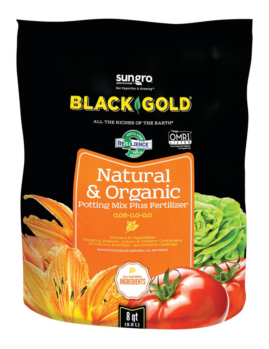 Black Gold Natural & Organic Potting Soil Plus Fertilizer 0.05-0.0-0.0 8ea/8 qt