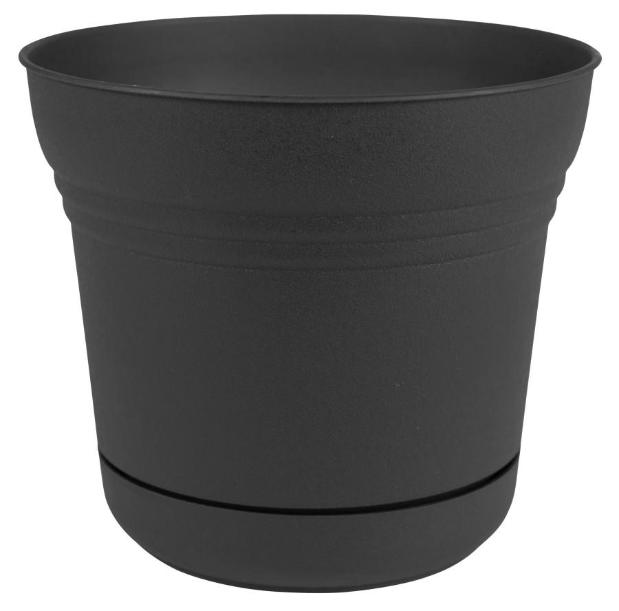 Bloem Saturn Planter Black 6ea/10 in