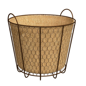 Panacea Rustic Basket with Burlap Liner Rust 12ea/8 in